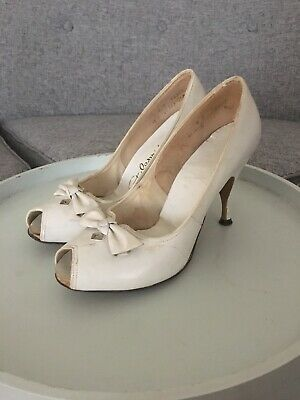 RARE Vintage 1950s 50s Shoes Heels Wedding Peep-toe Pumps Pin-up Size 6