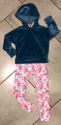 Matalan Velour Jumper & Trolls Leggings Foot Brands Girls Outfit 4-5 Years VGC