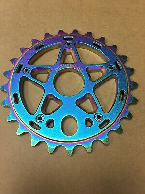 Gold TLC BIKES 25T Vintage BMX Sprocket // Chain Ring – Black Rainbow Oilslick