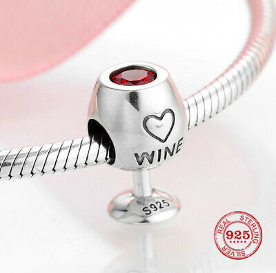 Authentic 925 Sterling Silver pandora charms red CZ wine cup fine beads Charm