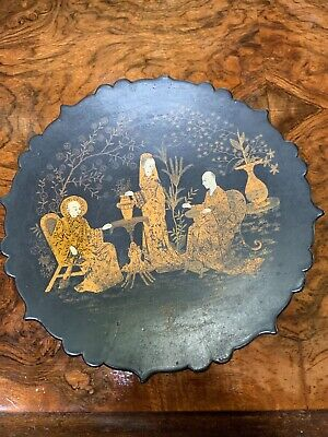 Antique Chinese black laquer plate