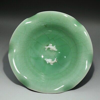 Collectable China Old Porcelain Glaze Relievo Fish Moral Bring Luck Noble Dish