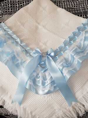 beautiful white/blue baby boys shawl **NEW** for christening or everyday use