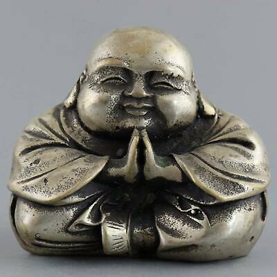 Collect Old Tibet Silver Hand-Carved Meditation Buddha Delicate Buddhism Statue
