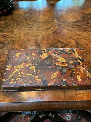 UNIQUE CHINESE LEATHER BOX containing 12 silver demitasse spoons