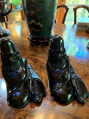 """Pair of antique Chinese Bronze statues of """"Old Men"""""""