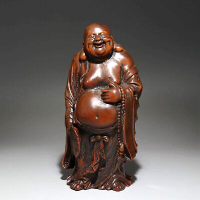 Collectable Handwork China Old Boxwood Carve Maitreya Buddhism Decorate Statue