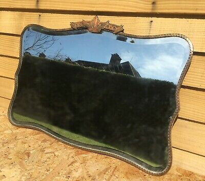 Art Deco Wall Mirror with Chamfered Edge & Copper Trim Vintage 1930s 40s