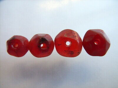 4 Ancient Roman Faceted Carnelian Beads Romans VERY RARE!  TOP !!