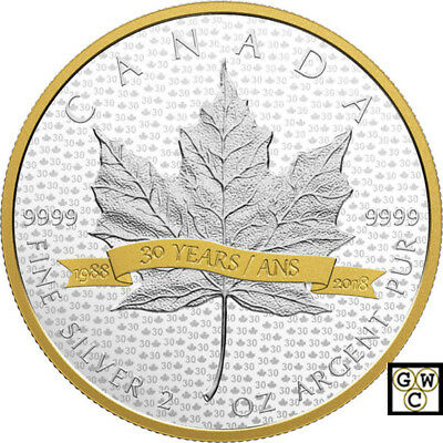 2018'SML  to 30 Years' Prf $30 Gold-Plated Fine Silver Coin 2oz (18299)NT
