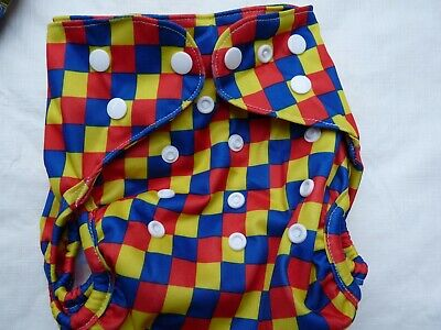 New Red Checkered Cloth Diaper Cover Double Gusset FlipThirstieBummis PUL EB3