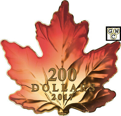 2017Autumn Fire' Maple Leaf Shaped Color Prf $200 Gold Coin 1oz .9999Fine(18224)