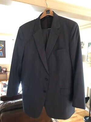 Jos. A. Bank 48 R Charcoal Gray Herringbone Wool Two Button 2 Pc Men's Suit