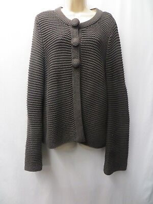 Brown Chunky Knit Cardigan Size 14 By Phase Eight