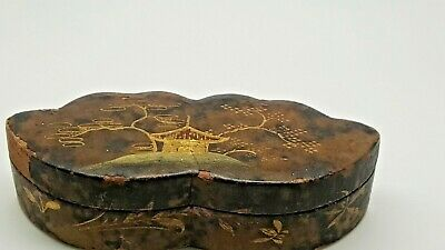 Antique Asian/Chinese Paper Mache Box Tin Snuff Box