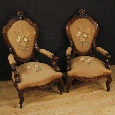 Pair of Armchairs Ancient Luigi Filippo Furniture Chairs Wooden Nut 800