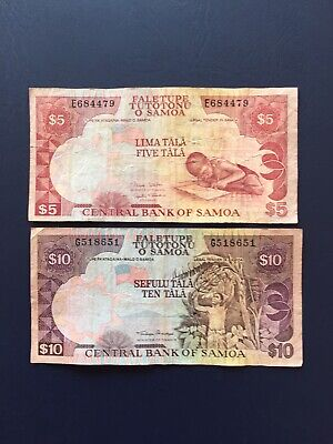 Western Samoa Taala  5 & 10 Denomination Bank Notes. Ideal For Collection.
