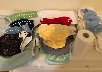8 cloth diaper lot, (mostly) new! 20 inserts, diaper pail liner