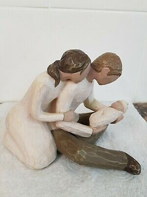 "Willow Tree Figurine ""New Life"" Couple with Baby Signed Susan Lordi 2000"