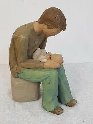 """Willow Tree Figurine """"New Dad"""" Father & Baby Signed Susan Lordi 2004"""