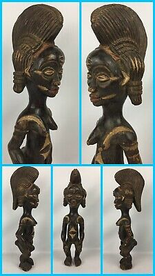 """21"""" Authentic AFRICAN Female Tribal Fertility Hand Carved Wooden Statue Art"""