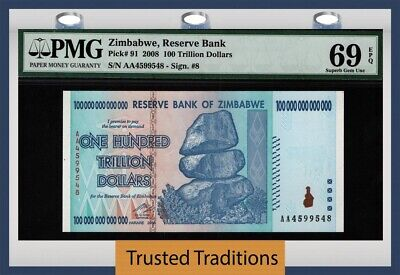 Tt Pk 91 2008 Zimbabwe 100 Trillion Dollars Reserve Bank Pmg 69 Epq Superb Gem
