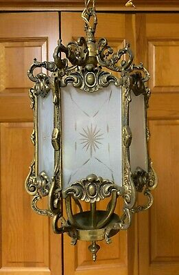 Antique Ornate Rococo Style Brass & Etched Glass Lantern Ceiling Light Fixture