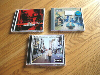3 OASIS CDs: DEFINITELY MAYBE, FAMILIAR TO MILLIONS, WHAT'S STORY MORNING GLORY