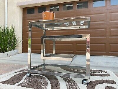 Mid Century Modern Chrome Bar Cart By Milo Baughman