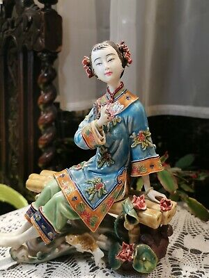 Shiwan Oriental Chinese Dream Lady Figurine / Porcelain Dolls Figurine Marked