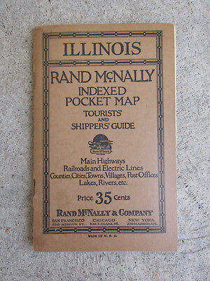 1925 ILLINOIS Indexed Pocket Map Rand McNally Tourist Shippers Guide Railroad