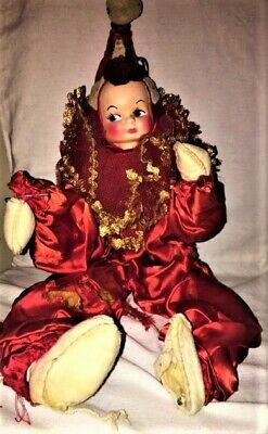 VINTAGE 1950's Poseable Jester Clown Molded Elf Pixie Face Bendable Body DOLL