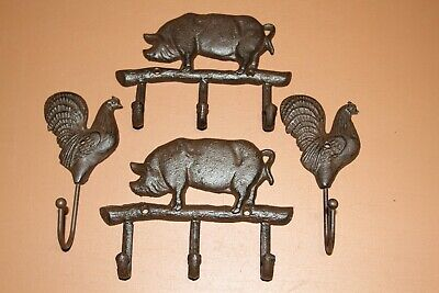 Farmhouse Pig Home Decor, Cast Iron Wall Hooks, Farm Delight 4 items