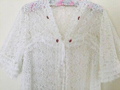 Vintage DRESSING GOWN Robe 1960s white lace and pink roses Open Front Tie