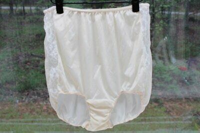 Vintage Granny Panty Double nylon full Coverage Brief Panties Lace 7 L
