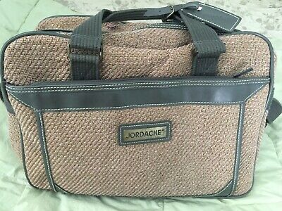 2 Piece Vintage JORDACHE Brown Tweed Leather Suitase + Carry-On Overnight Tote