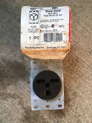 Pass & Seymour 3801 Power Outlet 30A 250V 2 Pole 3 Wire Flush Mount Receptacle