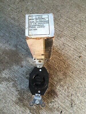 NOS Leviton 2310 Twist Lock Receptacle 2 Pole 3 Wire 20A 125V Black Single