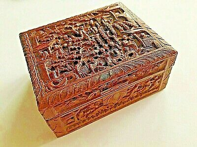 19Th Century China Chinese Canton Carved Sandalwood Box 十九世纪广州出口过洋古董檀香盒
