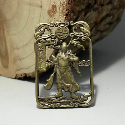 Collectable China Old Bronze Hand-Carved General Guan Yu Delicate Unique Pendant