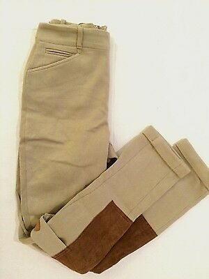 Polo Ralph Lauren Womens Beige Equestrian Riding Pants Suede Patches 4 Pockets