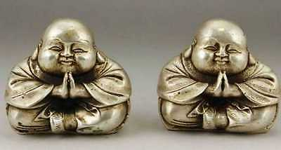 China Tibet Tibetan silver hand carved two young monk statue nice b01