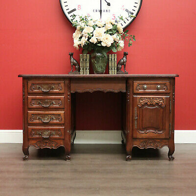 Antique French Oak 6 Drawer Office Desk with Cupboard Storage and Iron Handles