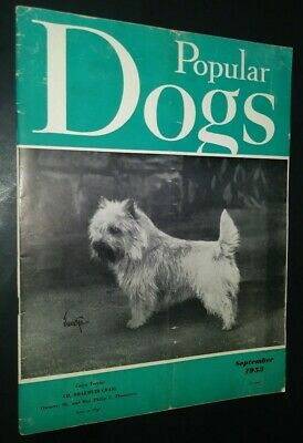 Popular Dogs Magazine Champion Cairn Terrier Cover by Rudolph Tauskey Sept 1953