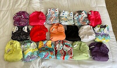 BumGenius , Fuzzibunz, Apple cheeks cloth diapers lot - Very Gently used