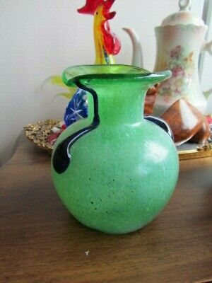 "Vintage  Murano Venetian Italian Art Glass Vase 5"" Green Blue Handled"