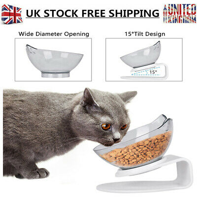 Transparent Food Water Pet Double Cat Bowl with Raised Stand 15° Tilted Platform