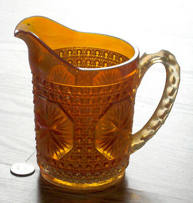 IMPERIAL carnival glass AMELIA Star Medallion PITCHER orange MARIGOLD antique