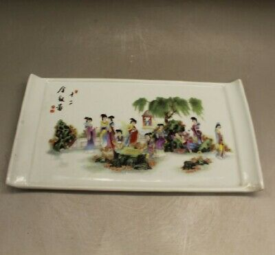 China old hand-made porcelain famille rose 12 gold hairpin pattern tea tray c01
