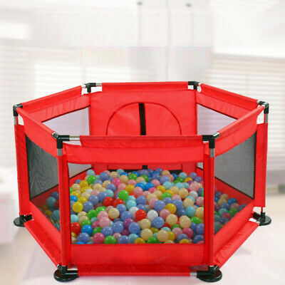 6 Side Baby Playpen Activity Play Pen Kids Playard Room Divider With Mat+Balls